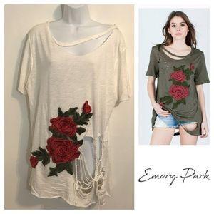 Emory Park rose distressed T-shirt. Size medium